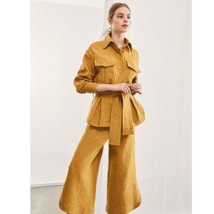 Massimo Dutti Runway Yellow High Rise Crop Pants